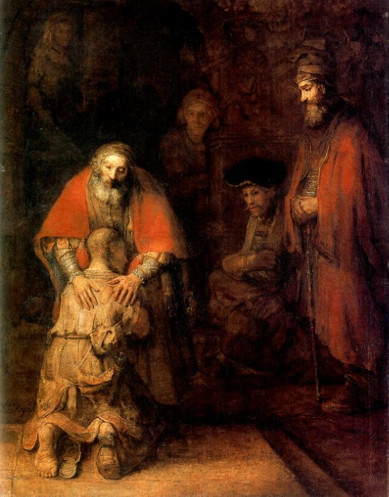 Rembrandt van Rijn, The Return of the Prodigal Son, c. 1661–1669.   262 cm × 205 cm. Hermitage Museum, Saint Petersburg